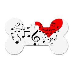 Singing Heart Dog Tag Bone (two Sides) by FunnyCow
