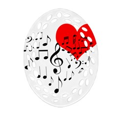 Singing Heart Oval Filigree Ornament (two Sides) by FunnyCow