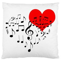 Singing Heart Large Cushion Case (two Sides) by FunnyCow