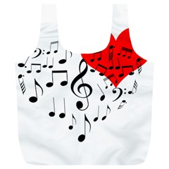 Singing Heart Full Print Recycle Bags (l)  by FunnyCow