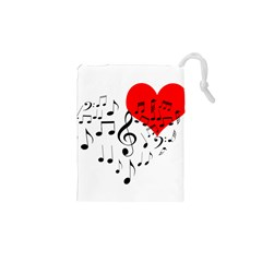 Singing Heart Drawstring Pouches (xs)  by FunnyCow