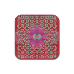 Fantasy Flowers In Everything That Is Around Us In A Free Environment Rubber Coaster (square)  by pepitasart
