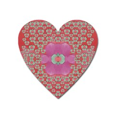 Fantasy Flowers In Everything That Is Around Us In A Free Environment Heart Magnet by pepitasart