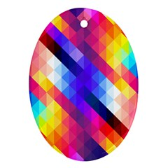 Abstract Background Colorful Pattern Oval Ornament (two Sides)