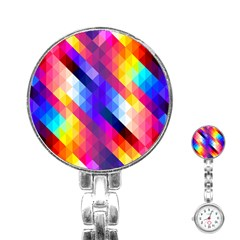 Abstract Background Colorful Pattern Stainless Steel Nurses Watch by Nexatart