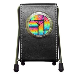 Background Colorful Abstract Pen Holder Desk Clocks