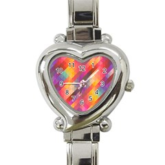 Abstract Background Colorful Pattern Heart Italian Charm Watch