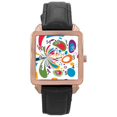 Light Circle Background Points Rose Gold Leather Watch  by Nexatart