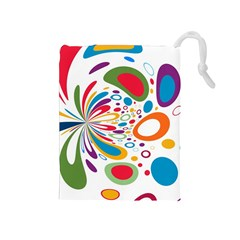 Light Circle Background Points Drawstring Pouches (medium)  by Nexatart