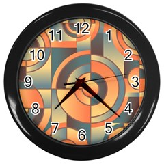 Background Abstract Orange Blue Wall Clocks (black) by Nexatart