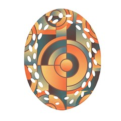 Background Abstract Orange Blue Oval Filigree Ornament (two Sides)