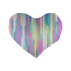 Background Abstract Pastels Standard 16  Premium Flano Heart Shape Cushions