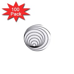Spiral Eddy Route Symbol Bent 1  Mini Magnets (100 Pack)
