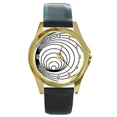 Spiral Eddy Route Symbol Bent Round Gold Metal Watch
