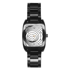 Spiral Eddy Route Symbol Bent Stainless Steel Barrel Watch