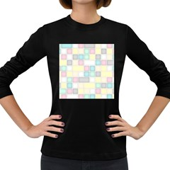 Background Abstract Pastels Square Women s Long Sleeve Dark T Shirts