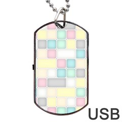 Background Abstract Pastels Square Dog Tag Usb Flash (one Side)