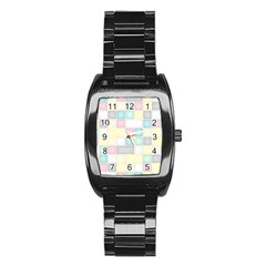Background Abstract Pastels Square Stainless Steel Barrel Watch by Nexatart