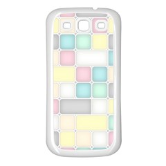 Background Abstract Pastels Square Samsung Galaxy S3 Back Case (white)