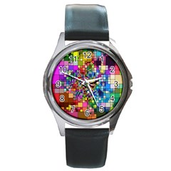 Abstract Squares Arrangement Round Metal Watch