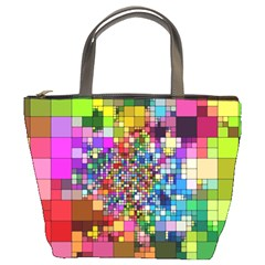 Abstract Squares Arrangement Bucket Bags by Nexatart