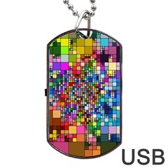 Abstract Squares Arrangement Dog Tag Usb Flash (two Sides)