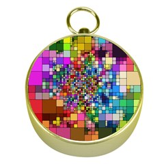 Abstract Squares Arrangement Gold Compasses by Nexatart