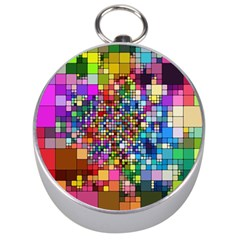 Abstract Squares Arrangement Silver Compasses