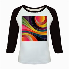 Abstract Colorful Background Wavy Kids Baseball Jerseys