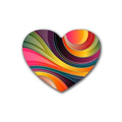 Abstract Colorful Background Wavy Rubber Coaster (heart)  by Nexatart