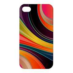 Abstract Colorful Background Wavy Apple Iphone 4/4s Premium Hardshell Case