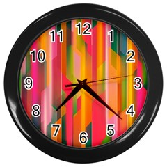 Background Abstract Colorful Wall Clocks (black)