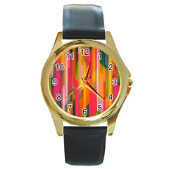 Background Abstract Colorful Round Gold Metal Watch by Nexatart