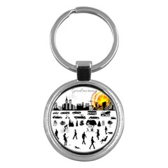 Good Morning, City Key Chains (round)  by FunnyCow