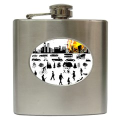 Good Morning, City Hip Flask (6 Oz) by FunnyCow