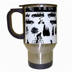 Good Morning, City Travel Mugs (white) by FunnyCow