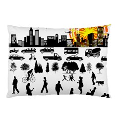 Good Morning, City Pillow Case by FunnyCow