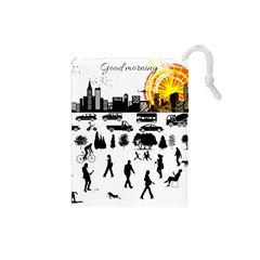 Good Morning, City Drawstring Pouches (small)  by FunnyCow