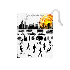 Good Morning, City Drawstring Pouches (medium)  by FunnyCow