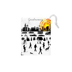 Good Morning, City Drawstring Pouches (xs)  by FunnyCow