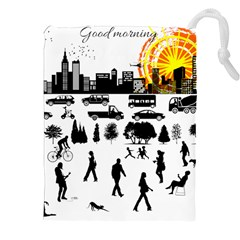 Good Morning, City Drawstring Pouches (xxl) by FunnyCow
