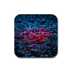 Water Color Red Rubber Coaster (square)  by FunnyCow