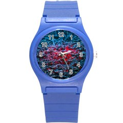 Water Color Red Round Plastic Sport Watch (s) by FunnyCow