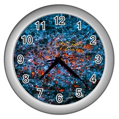 Water Color Orange Wall Clocks (silver)  by FunnyCow