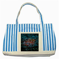 Water Color Orange Striped Blue Tote Bag by FunnyCow