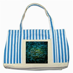 Water Color Yellow Striped Blue Tote Bag by FunnyCow