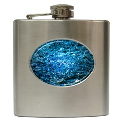 Water Color Blue Hip Flask (6 Oz) by FunnyCow