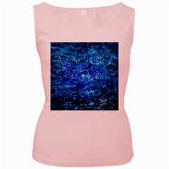 Water Color Navy Blue Women s Pink Tank Top