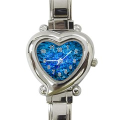 Water Color Navy Blue Heart Italian Charm Watch by FunnyCow