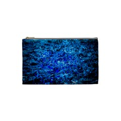 Water Color Navy Blue Cosmetic Bag (small)  by FunnyCow